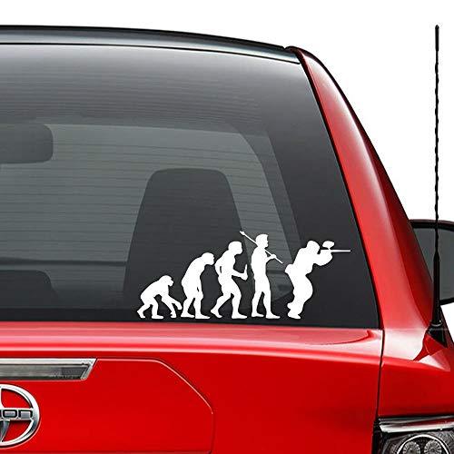 Seba5-Car sticker Theory of Evolution Paintball-Spiel Vinyl vorgestanzte Aufkleber für Windows Wand Dekor Auto LKW Fahrzeug Motorrad Helm Laptop und mehr - (Größe 6 Zoll / 15 cm breit) / (Farbe Glanz