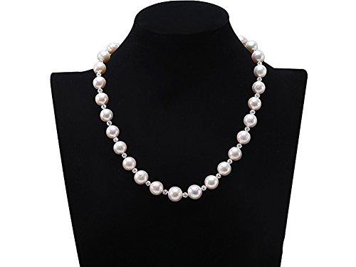 jyx 11–12,5mm weiß rund Edison Perle Pullover Halskette 48,3cm mit tschechischen Zirkone