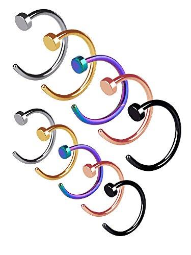 fake nose ring Edelstahl Nase Ring Hoop Nase Stud Körper Schmuck Piercing, 20 Gauge, 10 Stück