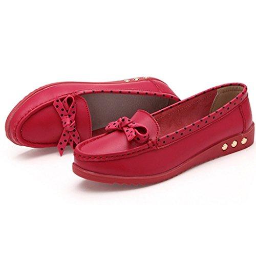 Transer® Damen Mokassins Frühling/Herbst Casual Schuh PU-Leder+Tendon Sandelholz Slipper (Bitte achten Sie auf die Größentabelle. Bitte eine Nummer größer bestellen. Vielen Dank!) Rot
