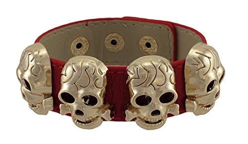 Cinturino in pelle con rose oro/rame metallo teschio borchie, materiale non metallico, colore: Red, cod. TBL008