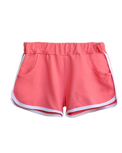 EMIN Damen Baumwolle Sporthose Shorts Hot Pants Strand Running Gym Yoga Hosen mit Taschen Rosa