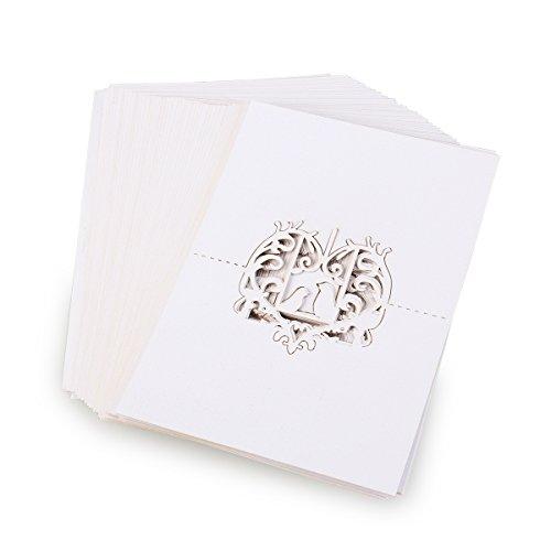 Pixnor 50pcs Laser taglio amore uccelli cuore nozze banchetti posto nome carte tavolo decorazione bianco