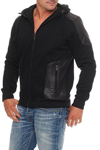 Epister Herren Kapuzen Sweatjacke Übergangsjacke warme Winter Jacke Hoodie Streetwear Outdoor 57199 Schwarz