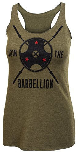 Jumpbox Fitness Begleite die barbellion-Frauen Barbell Military Grün Tri Blend Racerback Workout Tank Top, Damen, Military Green, Small - Stretch-fit-bar