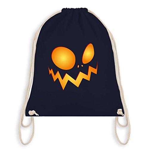 Halloween - Kürbisgesicht groß Pumpkin - Turnbeutel I Gym Bag Navy Blau
