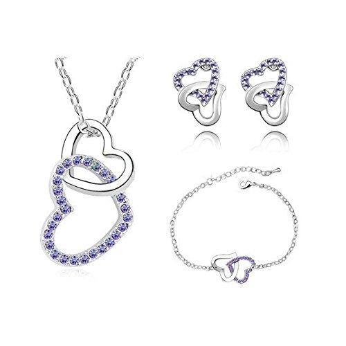 Parure coeurs cristaux swarovski elements plaqué or blanc Violet