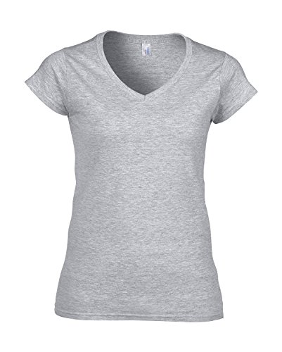 Gildan Damen V-Neck Jersey T-Shirt grey-heather