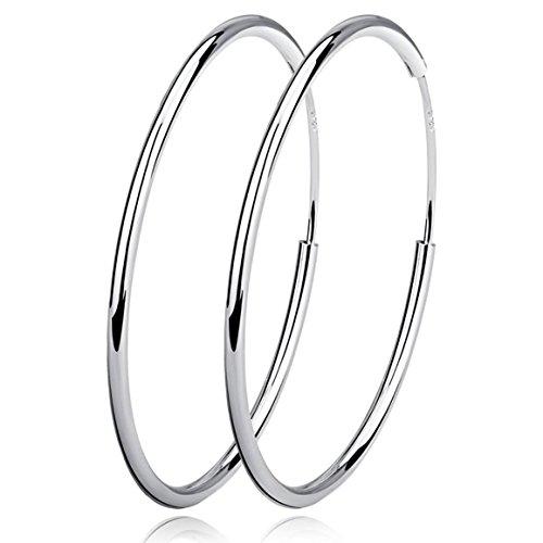 Damen Creolen Ohrringe Sterling Silber Huggie Kreolen Groß Rund Hängend Klapp-Creolen Ohrhänger für Frauen Mädchen Schmuck Durchmesser 40mm - Große Schmuck