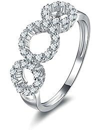 Aooaz Gioielli anello fascia anello fidanzamento anello argento sterling Cerchio Argento anelli donna anello zirconi