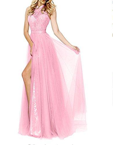 Alice Dressy Tüll Neckholder Abendkleider Promkleider A-linie Festlichekleider Partykleider Abschlussfeiernkleider mit Schlitze (A8 Meerjungfrau)
