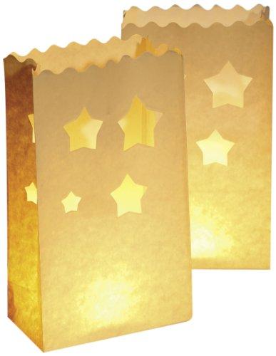 Wenko 8542100 Lichtertüte LUMINARIA Sterne groß - 10er Set, Windlicht, Pappe/Papier/Zellstoff, 15 x 26 x 9 cm, Weiß