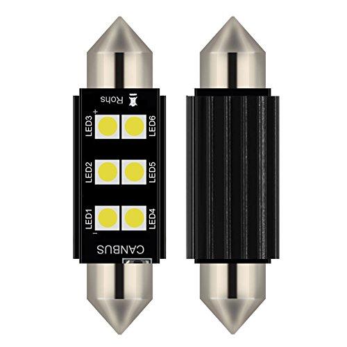 2pcs lampada a siluro FESTOON C5W 41MM LED bianco puro Canbus SMD Luce targa DC 12V (41MM)