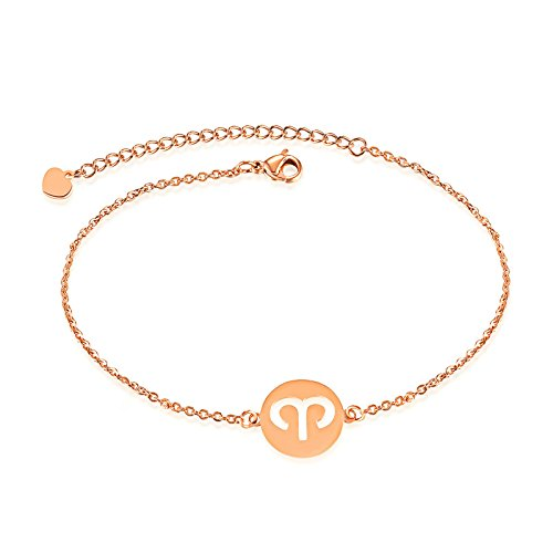 Lafeil Armbänder Rosegold Armreifen Damen Damen Rose Gold Sternbilder Edelstahl Aries Fashion Damen Armband 16cm