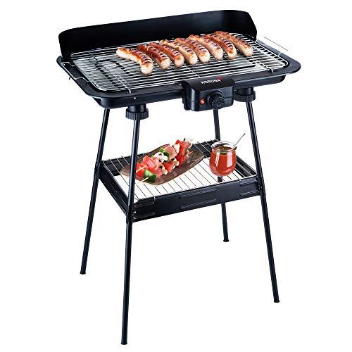 Korona 46220 Barbecue Elektro-Standgrill, schwarz, XXL Grillrost, Ablagerost, 2.200 Watt, Auffangschale, Windschutz, stufenloser Temperaturregler, Outdoor-Grill, wenig Rauch, Heizelement abnehmbar
