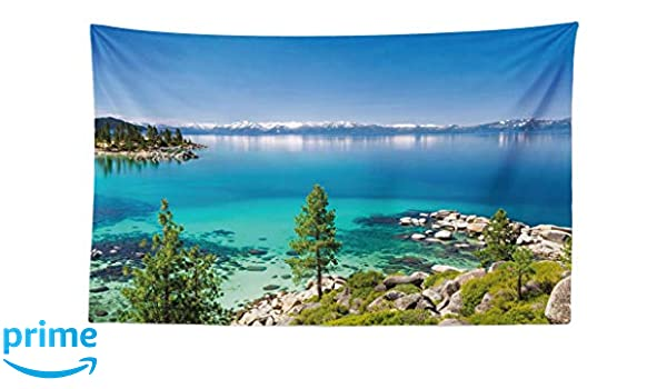 90 W X 54 L Inches Fabric Wall Hanging Decor for Bedroom Living Room Dorm Blue Grey Green Tranquil View of Lake Tahoe Sierra Pines on Rocks with Turquoise Waters Shoreline ABAKUHAUS Blue Tapestry
