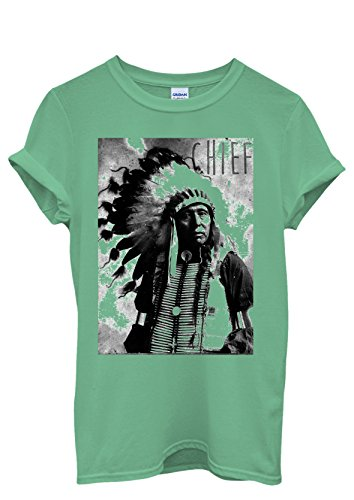 Indians Chief Native Americans Cool Funny Men Women Damen Herren Unisex Top T Shirt Grün