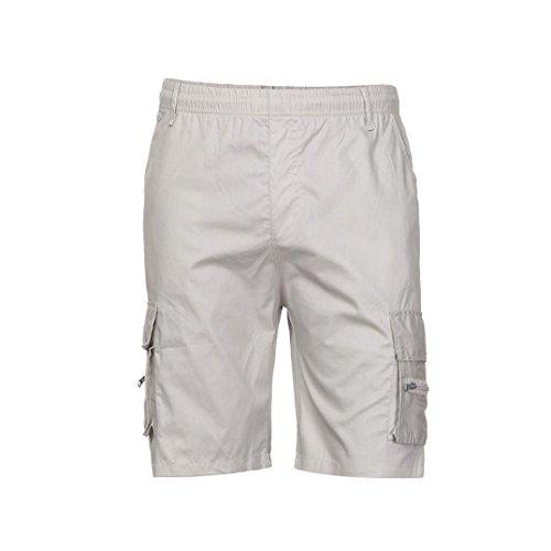 Pantaloncini corti tempo libero pantaloncini uomo casual cotone uomo elastico con taschino (beige, xl)