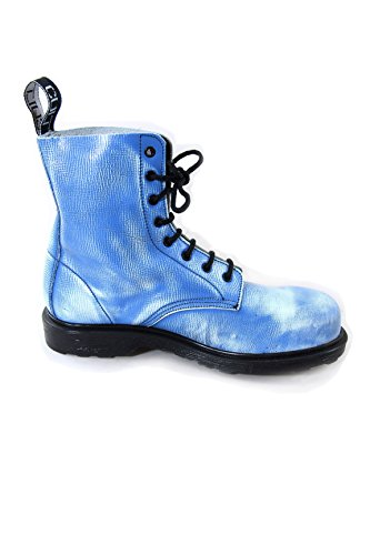 Cult Bolt Strike Vintage Leather Boots with Steel Toe Blue and White Blue