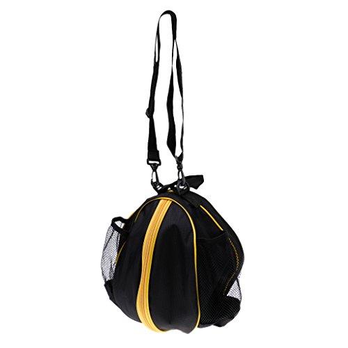 Sharplace Wasserdichter Basketball Tragetasche mit Verstellbarer Schulterriemen, Balltasche Ballsack für Volleyball Fußball - Schwarz-Gelb