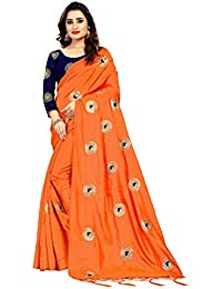 Vastrang Women's Paper Silk Embroidered Sarees With Blouse Piece(5457_Free Size)