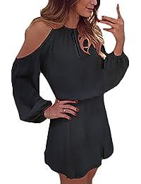 Donna Vestiti Estivi Eleganti Chiffon di Camicia Vestito Casuale Puro  Colore Backless Linea Ad A Swing Abito da… c21e0bce7dd