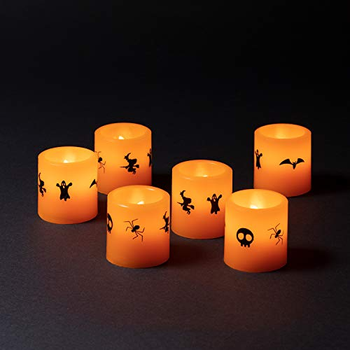 Lights4fun 6er Set LED Teelichter Halloween Deko Batteriebetrieb
