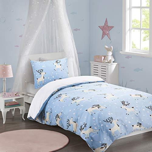 Kinder Bettwäsche 135x200cm Blau 100% Baumwolle mit im Dunkeln Leuchtend Sternchen 2-teilig Bettbezug Kopfkissenbezug 50x75cm Renforcé Mädchen Jugendliche Teenager Starry Sky