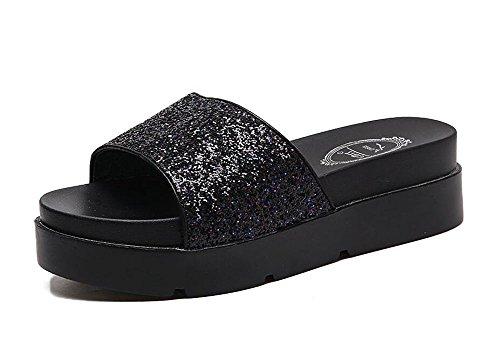 L&Y Donne Piattaforma Toe Summer New Sequins Muffled Spessore Bottom Impermeabile Drag Toe Mid Heel Cool Pantofole Sandali Nero