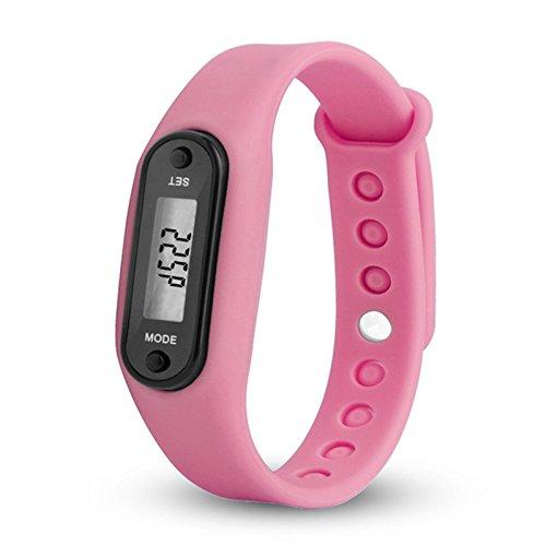 Reloj que cuenta los pasos de WANGLAI, pulsera de gel de sílice, con podómetro, contador de calorías, pantalla digital LCD (de cristal líquido), mide el recorrido que haces a pie, rosa