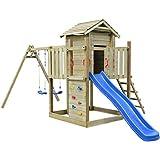 vidaXL Aire de Jeux en Bois avec échelle, Toboggan, balançoires 557 x 280 x 271 cm