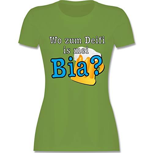Après Ski - Wo zum Deifi is MEI Bia? - XXL - Hellgrün - L191 - Tailliertes Tshirt für Damen und Frauen T-Shirt