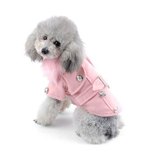 Pegasus Kleiner Hund Bekleidung für Mädchen Jungen Western Style aus Wolle Winter Zweireiher Pea Coat Kragen aus Kunstpelz (Kragen Pea Coat)