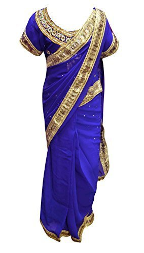 Desi Sarees Enfants Prêt Filles Exclusives Saree Wedding Party 1201 (30 (8-9 yrs), Bleu)