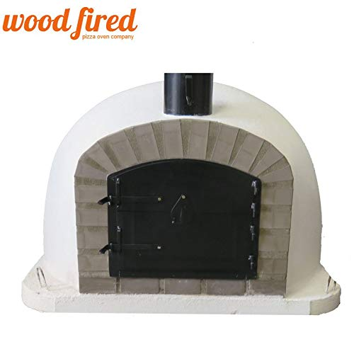 White Deluxe Extra Wood Fired Pizza Oven, Grey Arch, Black Door, 90cm x 90cm