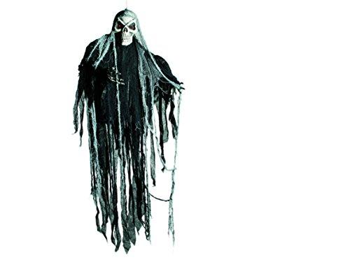 Out of the blue 98/2026 Halloween-Figur zum Aufhängen, Skull I, mit 2 LED, inklusiv Batterien, Circa 153 x 108 (Halloween Figuren)