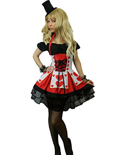 Yummy Bee - Alice im Wunderland Karneval Fasching Königin der Herzen Kostüm + Handschuhe Hut Damen Größe 34 - 50 (Damen:36-38) (Alice Im Wunderland Kostüm Ideen Für Frauen)