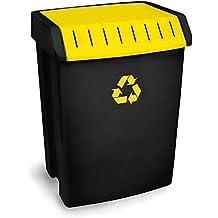 tatay 1102302 poubelle de recyclage 50 l plastique noirjaune 40 x 335 - Poubelle De Cuisine Jaune
