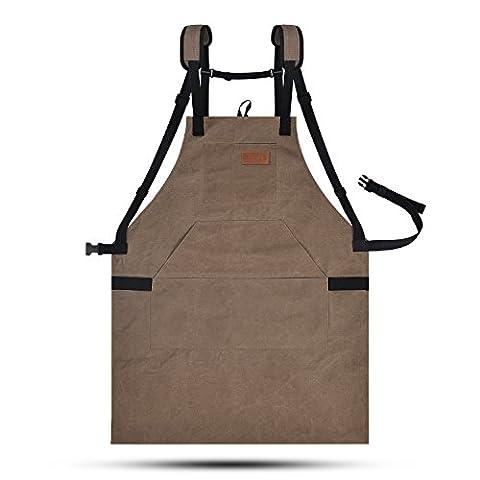 Lurad Outil Tablier durable Duty sur toile étanche et réglages de taille Atelier Tablier avec poches pour homme et femme, Brown-2, Strap Style