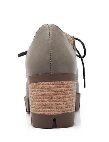 WSS 2016 Chaussures Femme-Bureau & Travail / Habillé / Décontracté-Noir / Gris / Beige-Gros Talon-Talons / Bout Arrondi-Talons-Similicuir black-us5.5 / eu36 / uk3.5 / cn35