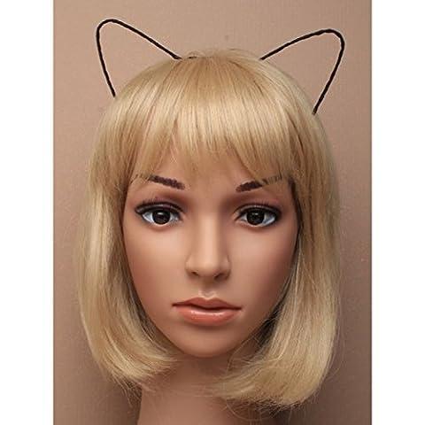 Black Ribbon Wrapped Wire Cat Ear Headband/ Aliceband Hair Accessory
