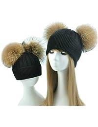 BrillaBenny 2 Cappelli Cashmere Doppio PON PON Pelliccia Mamma e Figlia  Cappellino Cuffia Donna Bambino Hat 1ed823090d78