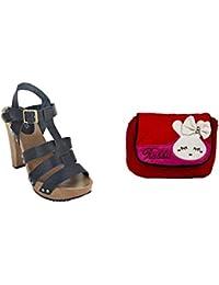Estatos Pattern Leather Open Toe Buckle Closure Block Wooden Heel Black Gladiator Sandals With Red Sling Bag