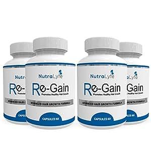 Nutralyfe Regain Best Supplement For Hair Loss 100% Natural & Herbal 60 Veg Capsules (Pack Of 4)