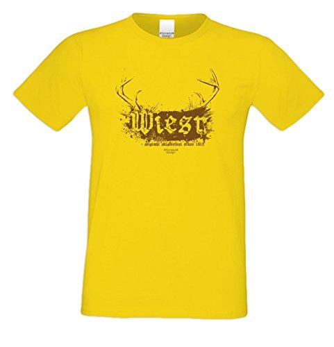 Herren Burschen Fun-Tshirt Outfit Motiv Wiesn Volksfest-Zeit, Dult Bierzelt Oktober-Fest Hirsch-Geweih Geschenk Farbe: gelb Gelb