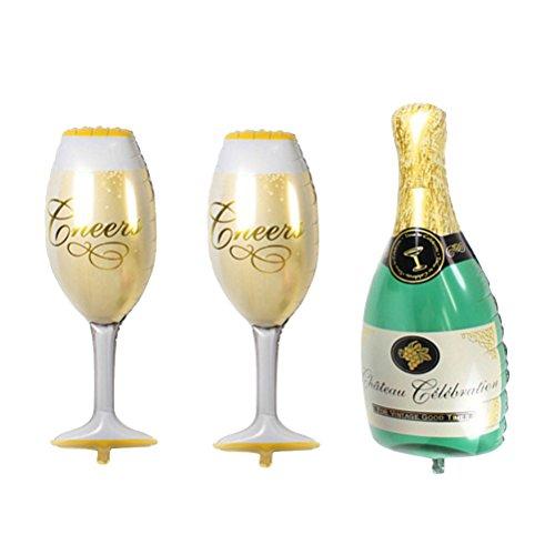 TOYMYTOY 36 Zoll Party Folienballons | Aufblasbare Champagner Ballons Flasche Becher - Jubiläum, Hochzeit, Verlobungsfeier Dekorationen, 3pcs