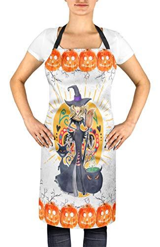 Timingila Weiß Halloween Kürbis, Katze & Hexe Frauen verstellbare Schürze Küche Kochen Lätzchen 24 x 32 Zoll -