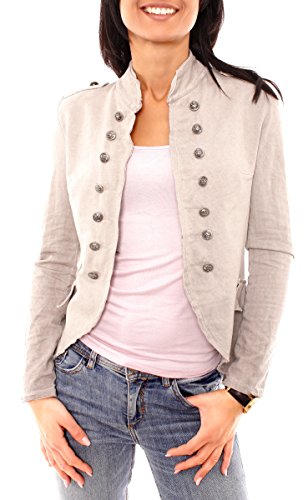 Damen Vintage Uniform Military Admiral Style Sweat Jersey Blazer Sakko Jacke Kurz Knopfleiste Offen Einfarbig Taupe XS 34 (S) - Taupe Blazer Jacke