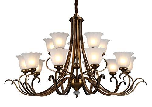 WENSENY Antiquität Messing-Finish Leuchter Kronleuchter Weiß geätzte Schattierungen 10+5 flammig Pendelleuchten Deckenbeleuchtung Ø120cm LED E27 - Geätzte Finish