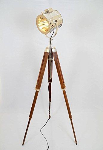 Vintage Stage Searchlight Stativ aus Holz Suche Licht Studio Spot Lampe braun ()